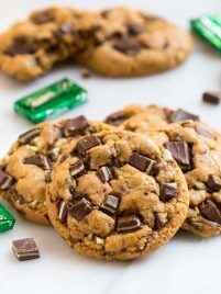 Easy Andes Mint Cookies. Thick, soft, chewy, and healthy recipe made with whole wheat flour. These treats are one of our absolute favorite Christmas cookies and great for St Patrick's Day too!