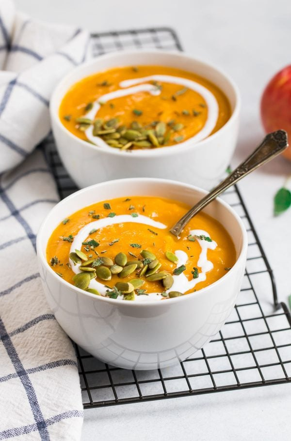 Healthy Crockpot Butternut Squash Soup. Made with apples and coconut milk for amazing flavor!
