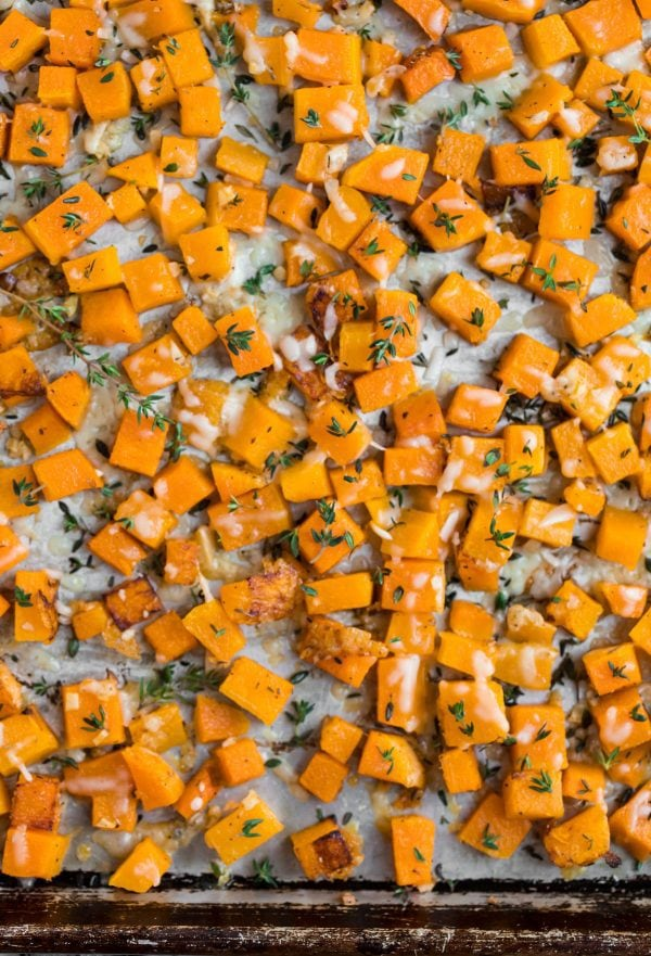 Roasted Butternut Squash Parmesan. An easy gluten-free side dish recipe!