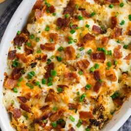 Loaded cauliflower casserole in a baking dish
