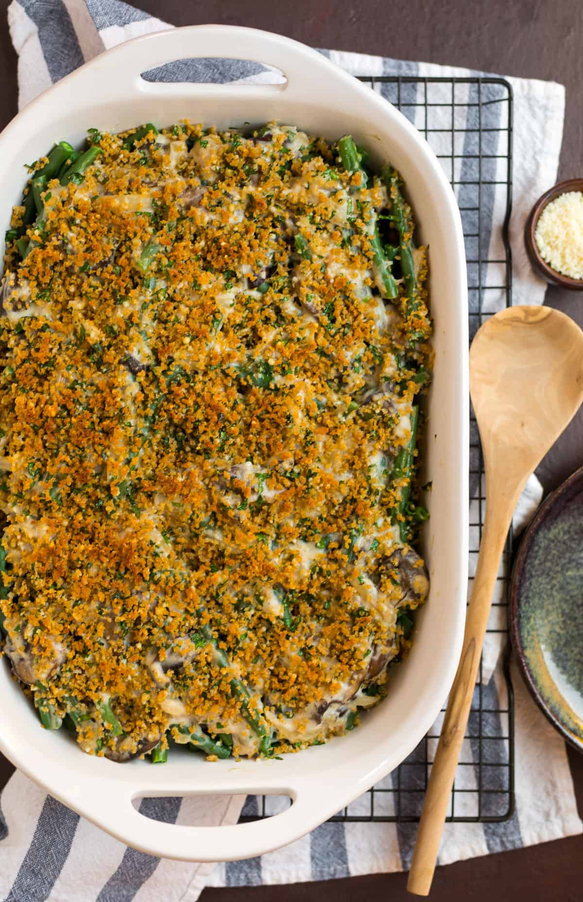 A baking dish with healthy green bean casserole