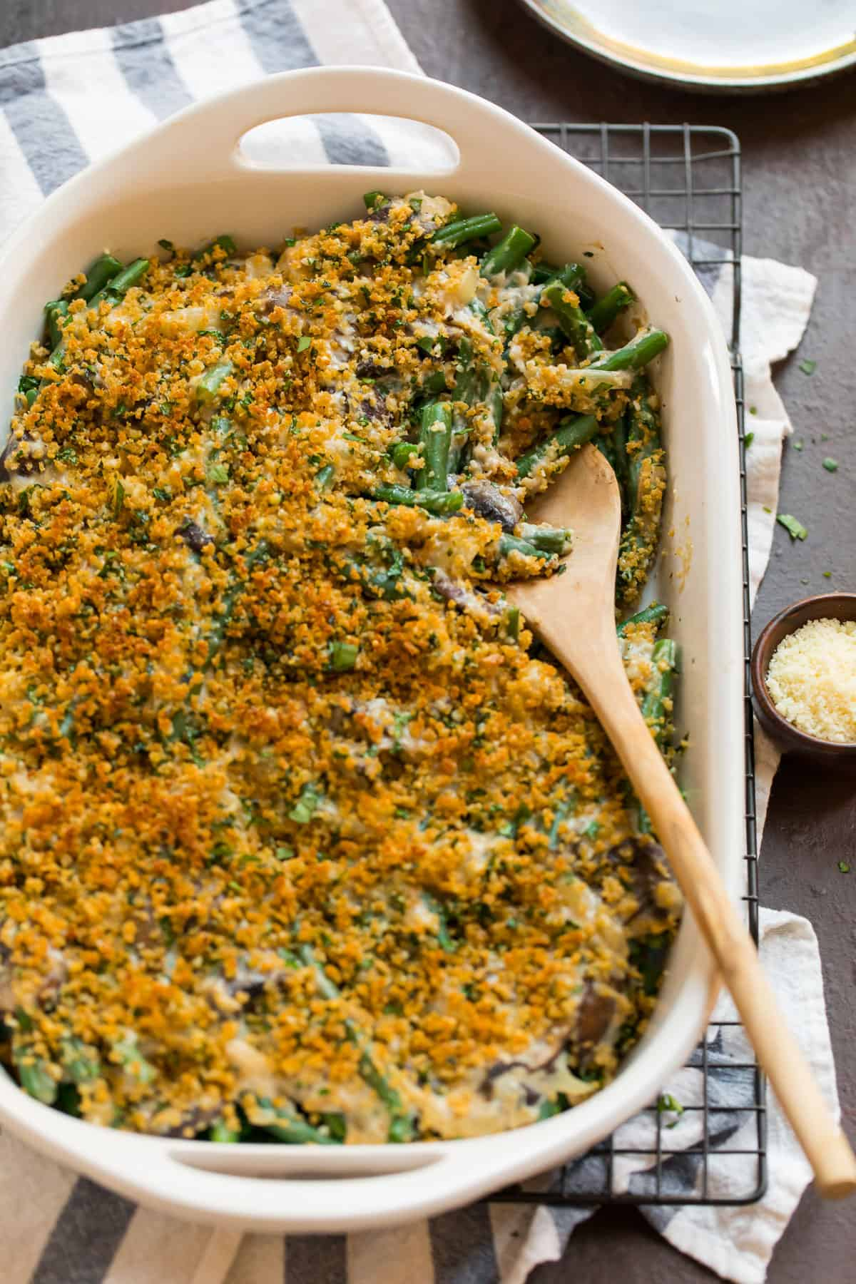Healthy green bean casserole with no canned soup