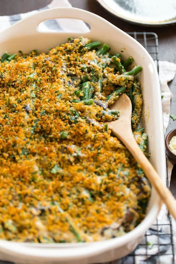 Healthy Green Bean Casserole. A lightened up family favorite for Thanksgiving!