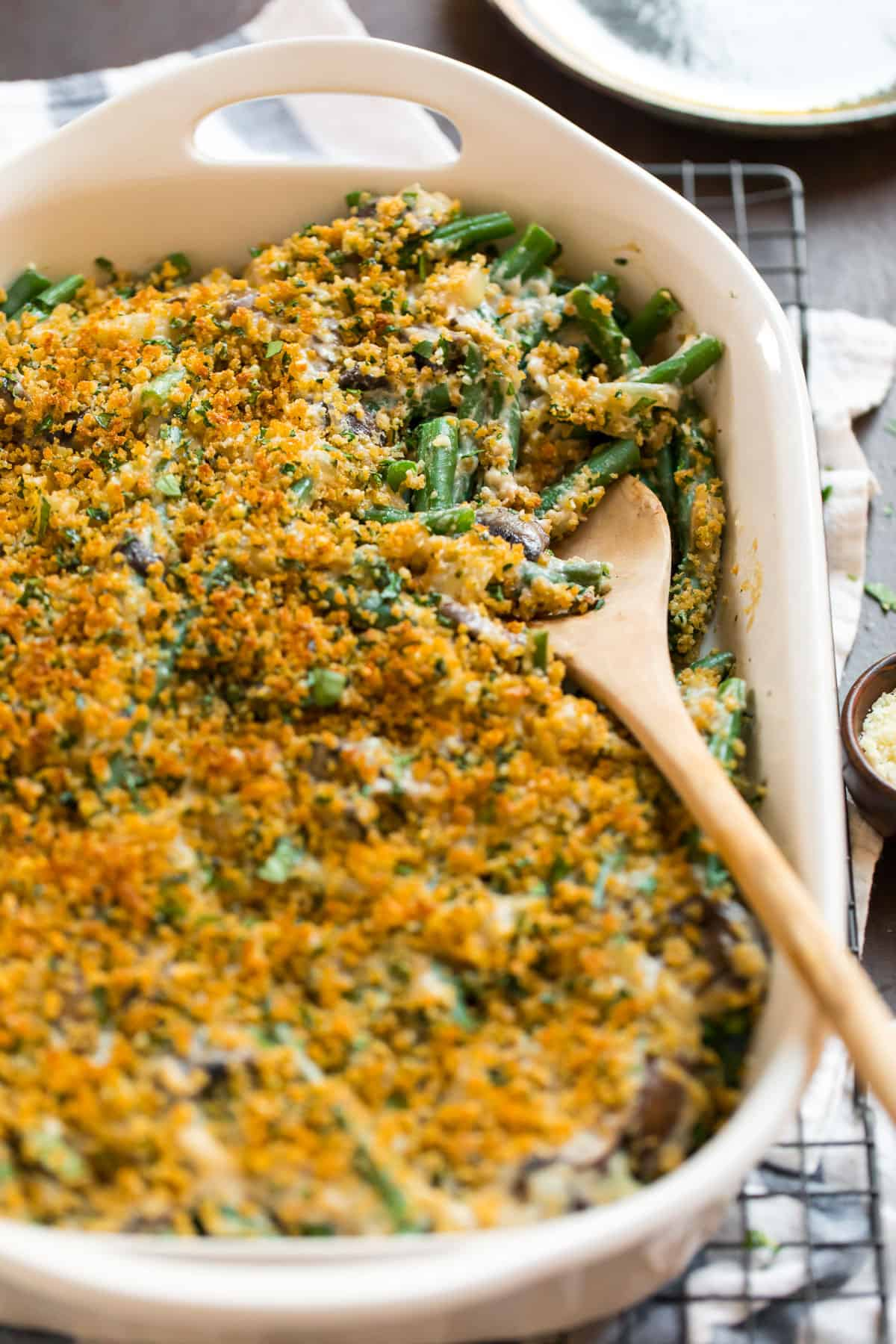 Vegetables in a baking dish with a breadcrumb topping