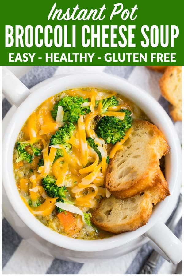 Healthy Instant Pot Broccoli Cheese Soup. Rich, creamy, and better than Panera! This easy pressure cooker soup recipe is ready in 30 minutes and is low carb, vegan friendly, and gluten free. One of the best recipes to bring for lunch and or keep frozen for fast, healthy meals anytime. #wellplated #instantpot #soup #pressurecooker #healthy