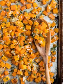 Easy Roasted Butternut Squash with Garlic and Parmesan. Simple, delicious, and gluten free, this is one of the best butternut squash recipes and a great way to get your veggies!