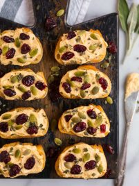 Pumpkin Goat Cheese Crostini. A perfect appetizer recipe for Thanksgiving, Christmas, and dinner parties!