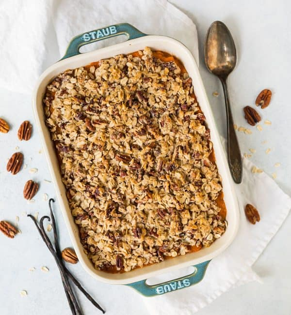 Vegan Healthy Sweet Potato Casserole. Flavored with vanilla beans and topped with a delicious oatmeal crumble!