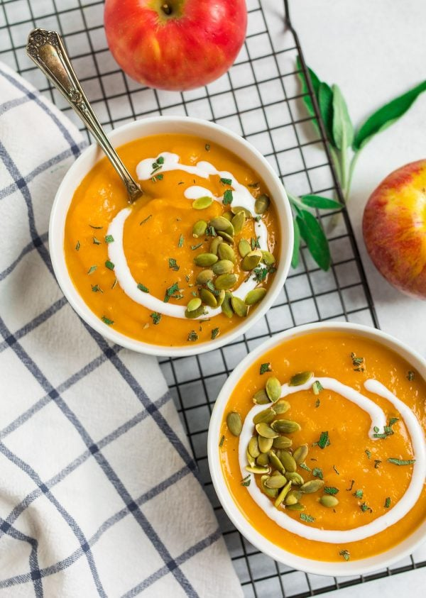 Crockpot Butternut Squash Soup. A healthy, easy dinner recipe made with squash, apples, and coconut milk.