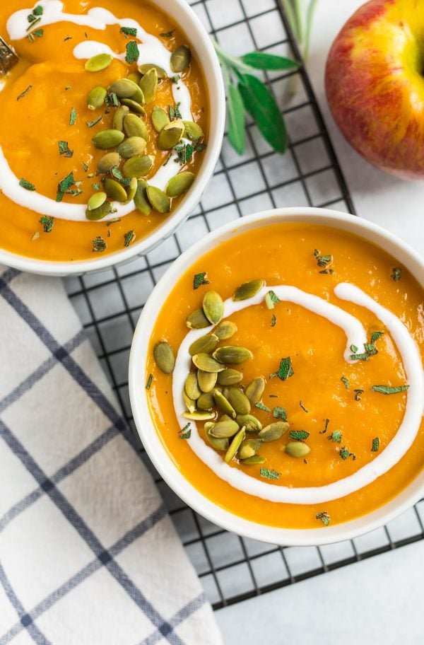 Easy Crockpot Butternut Squash Soup. Rich, creamy, and perfect for fall dinners.