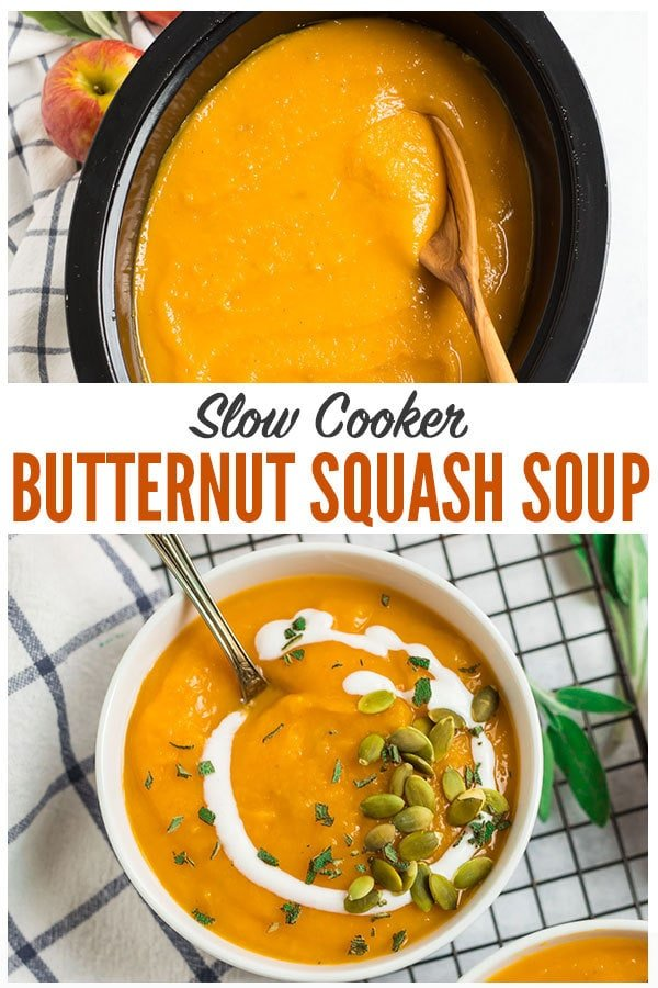 Healthy vegan recipe for the BEST Slow Cooker Butternut Squash Soup with coconut milk and apple. The crock pot makes it easy and it tastes better than Panera! Rich, creamy, and made with simple ingredients, this is one of the best fall comfort foods. #wellplated #butternutsquashsoup #slowcooker #crockpot #healthy #vegan