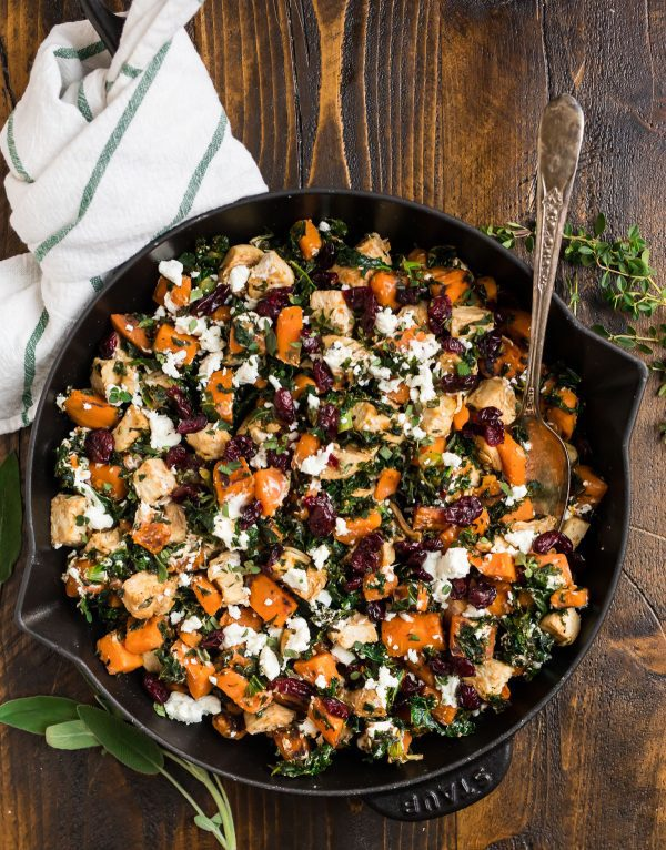Chicken Sweet Potato Kale Skillet. An easy weeknight dinner that's ready in 30 minutes!