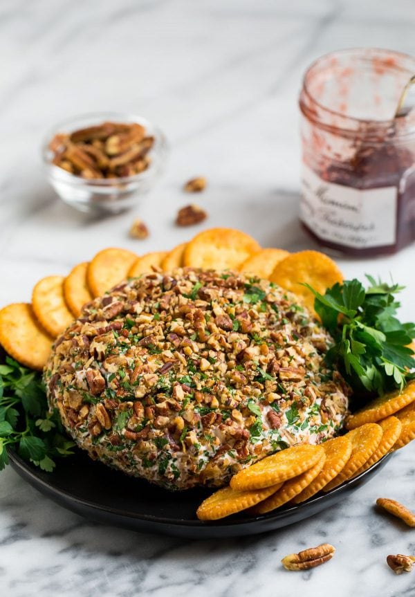 Cream Cheese Ball with cheddar, strawberry preserves, and pecans is an easy party appetizer everyone will love!
