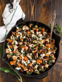 An easy, healthy chicken dinner with sweet potatoes, kale, cranberries, and goat cheese. Ready in 30 minutes and filled with the best flavors of the season! Serve with wild rice, cauliflower rice, or enjoy it on its own for a fast and healthy chicken dinner!