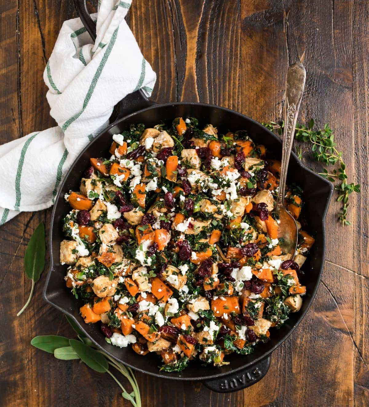 Easy Healthy Chicken Dinner with Sweet Potatoes Kale and Cranberries