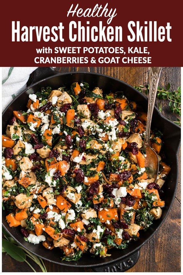 An easy, healthy chicken dinner with sweet potatoes, kale, cranberries, and goat cheese. Ready in 30 minutes and filled with the best flavors of the season! Serve with wild rice, cauliflower rice, or enjoy it on its own for a fast and healthy chicken dinner! #wellplated #chicken #onepan #dinner