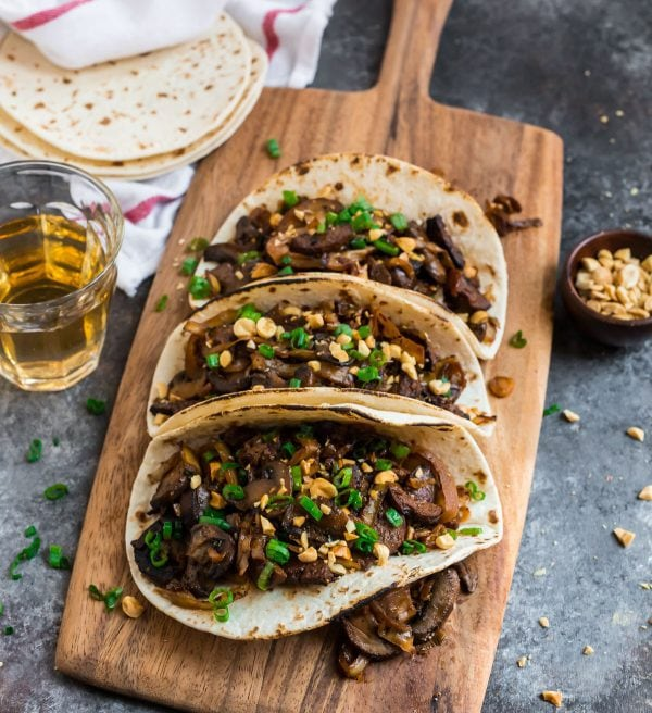 Vegetarian Mushroom Tacos. An easy, flavorful meal with mushrooms, tofu, and cabbage.