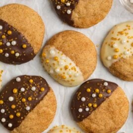 Rum snickerdoodles that have been dipped in chocolate