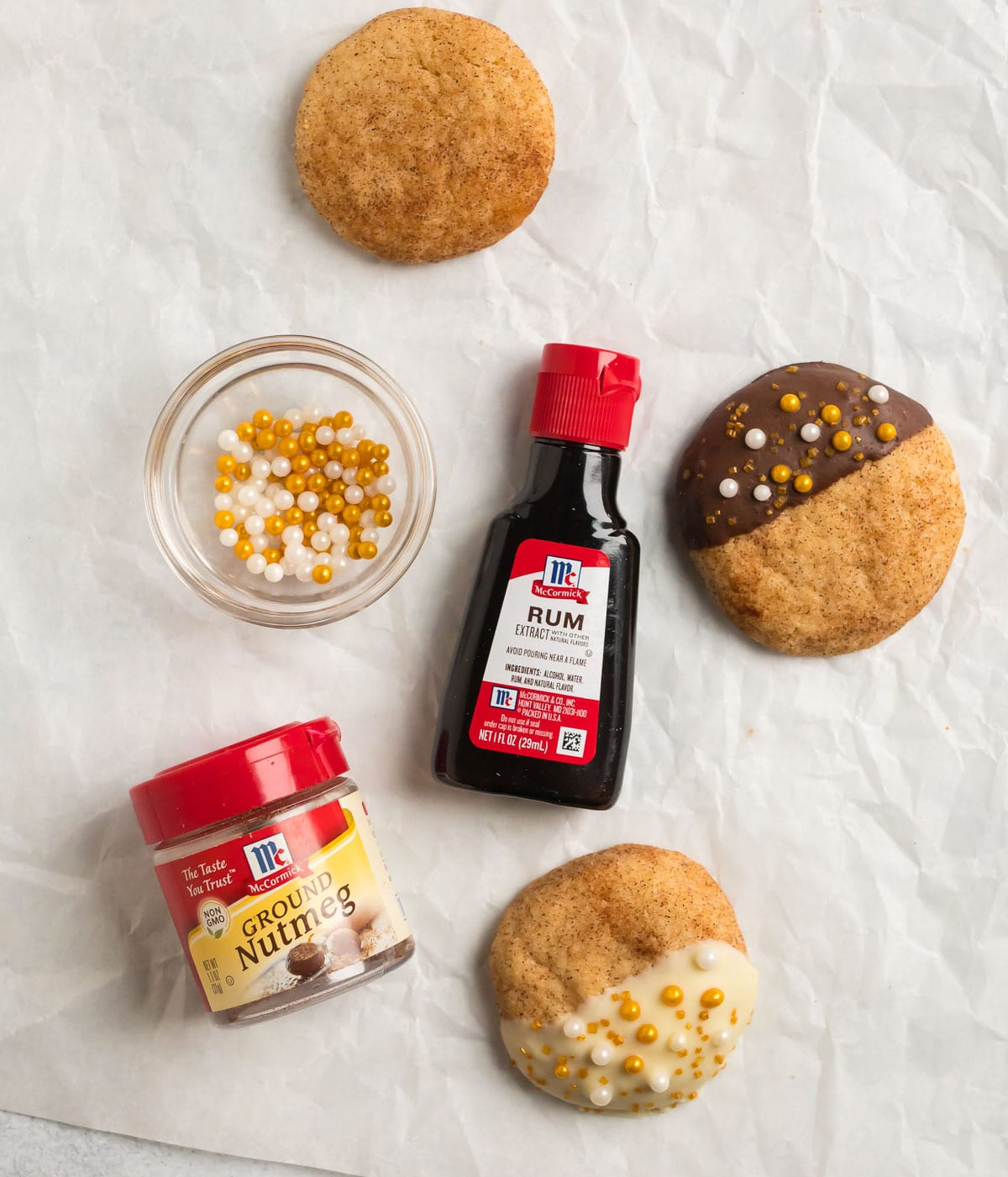Rum Snickerdoodles with a bottle of rum extract