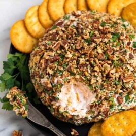 A sweet and savory Cream Cheese Ball with Cheddar, Strawberry Preserves, and Pecans. This easy twist on a classic cheese ball recipe is the BEST cheese ball you'll ever taste! A perfect appetizer for Thanksgiving, Christmas, and football games.
