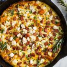 Sweet Potato Frittata with Ham, Caramelized Onions, and Feta. Whole30 and Paleo friendly, easy, and healthy!