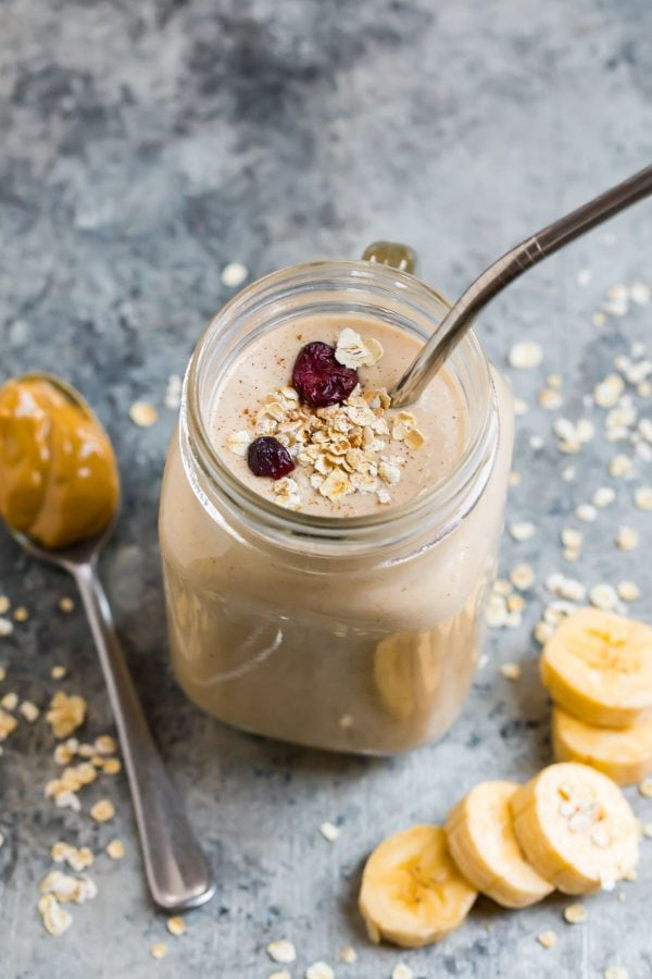 Oatmeal Smoothie With Peanut Butter And Banana Wellplated Com