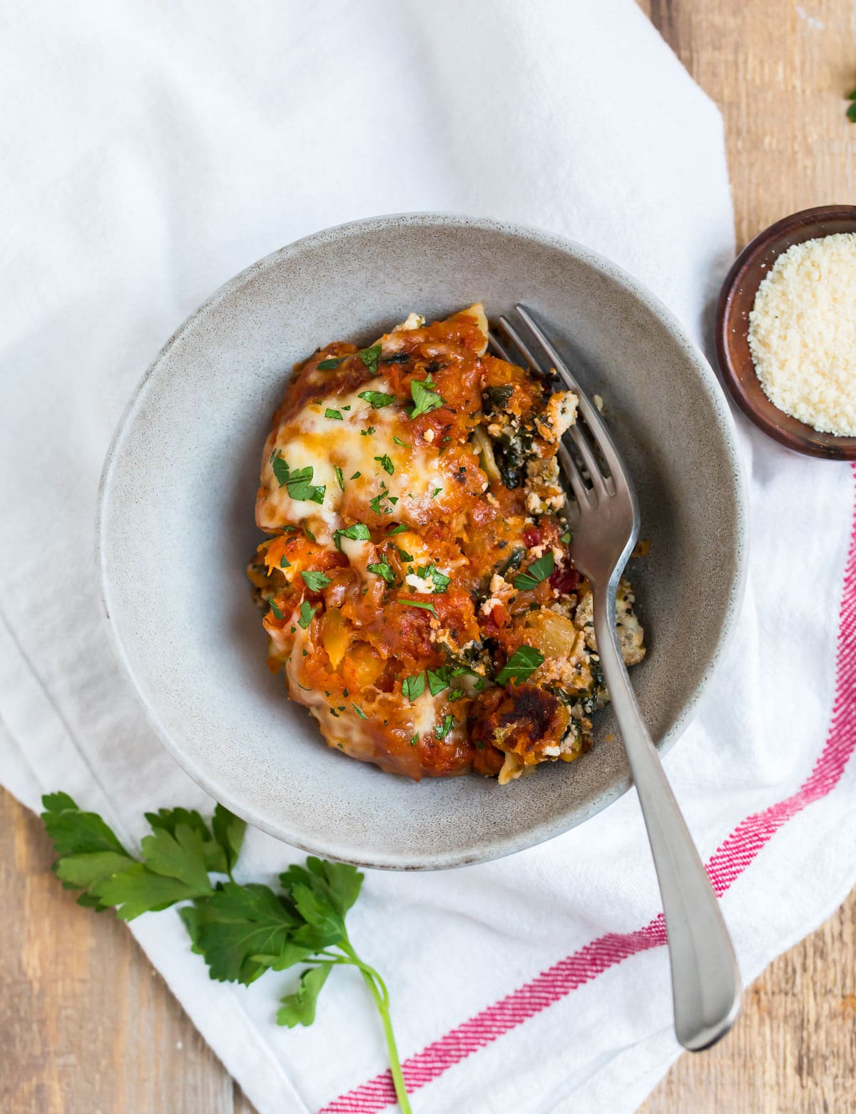 Skillet Lasagna with Basil, Italian Sausage, and Butternut Squash. This healthy, one-pan dinner is packed with whole grains and hidden veggies.