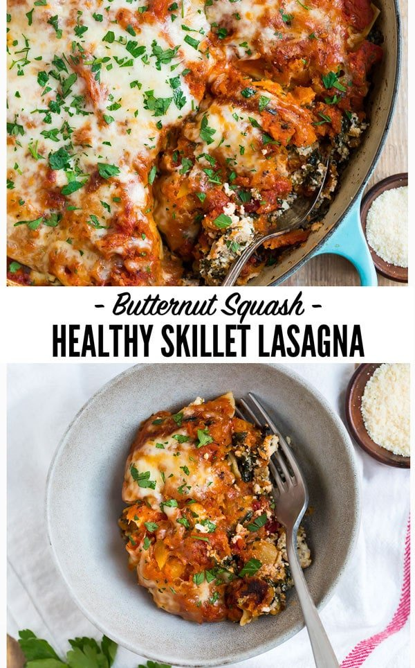 An easy, healthy skillet lasagna with Italian sausage, butternut squash, ricotta, and spinach. Everything cooks in ONE pot (cast iron or regular) for easy clean up!   Even better than the Pioneer Woman and better for you! #wellplated #skilletlasagna