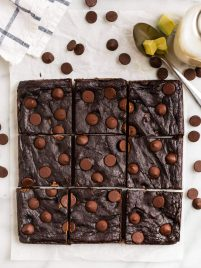 Avocado brownies sliced into nine pieces
