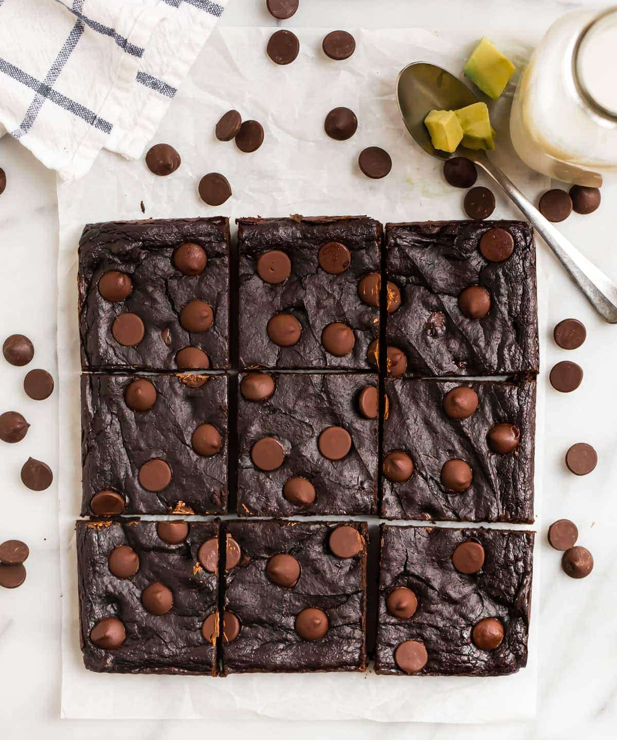 Fudgy Avocado Brownies. Ultra moist, healthy with double the chocolate! Gluten free, grain free, and made in just ONE BOWL. This easy brownie recipe is my favorite healthy dessert.