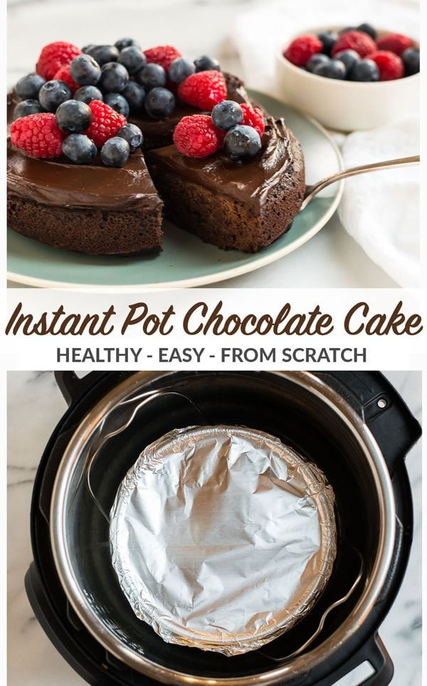 Easy and healthy Instant Pot Cake from scratch! Moist, fudgy, and topped with creamy avocado chocolate frosting, this chocolate cake is vegan and absolutely delicious! Recipe includes step by step photos for how to make the best cake in your pressure cooker. #wellplated #instantpot #vegan #chocolatecake