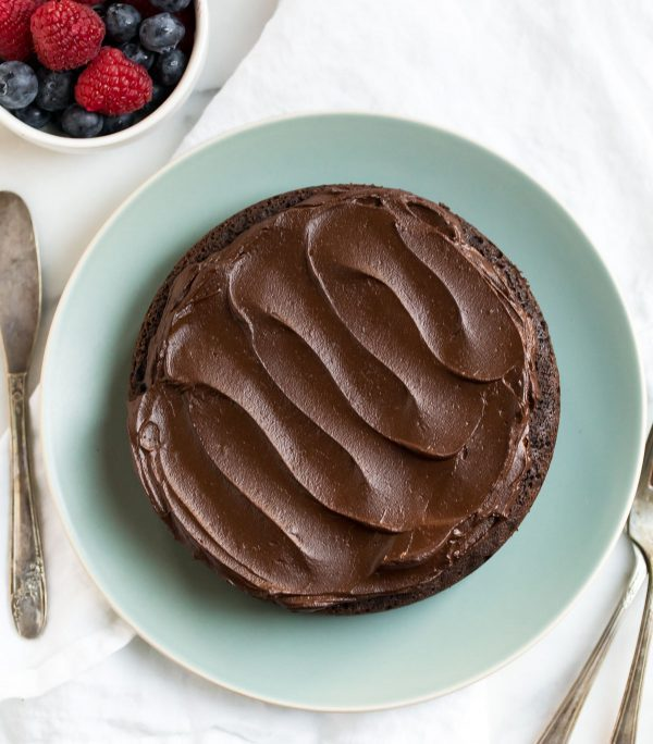 Instant Pot Chocolate Cake. Made with whole wheat flour, vegan, and topped with creamy avocado chocolate frosting.