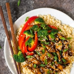 Healthy Instant Pot Teriyaki Chicken from scratch! Use fresh or frozen chicken thighs or breasts and serve with rice or cauliflower rice for a low carb version. This easy pressure cooker recipe tastes like your favorite stir fry but is so much better for you.