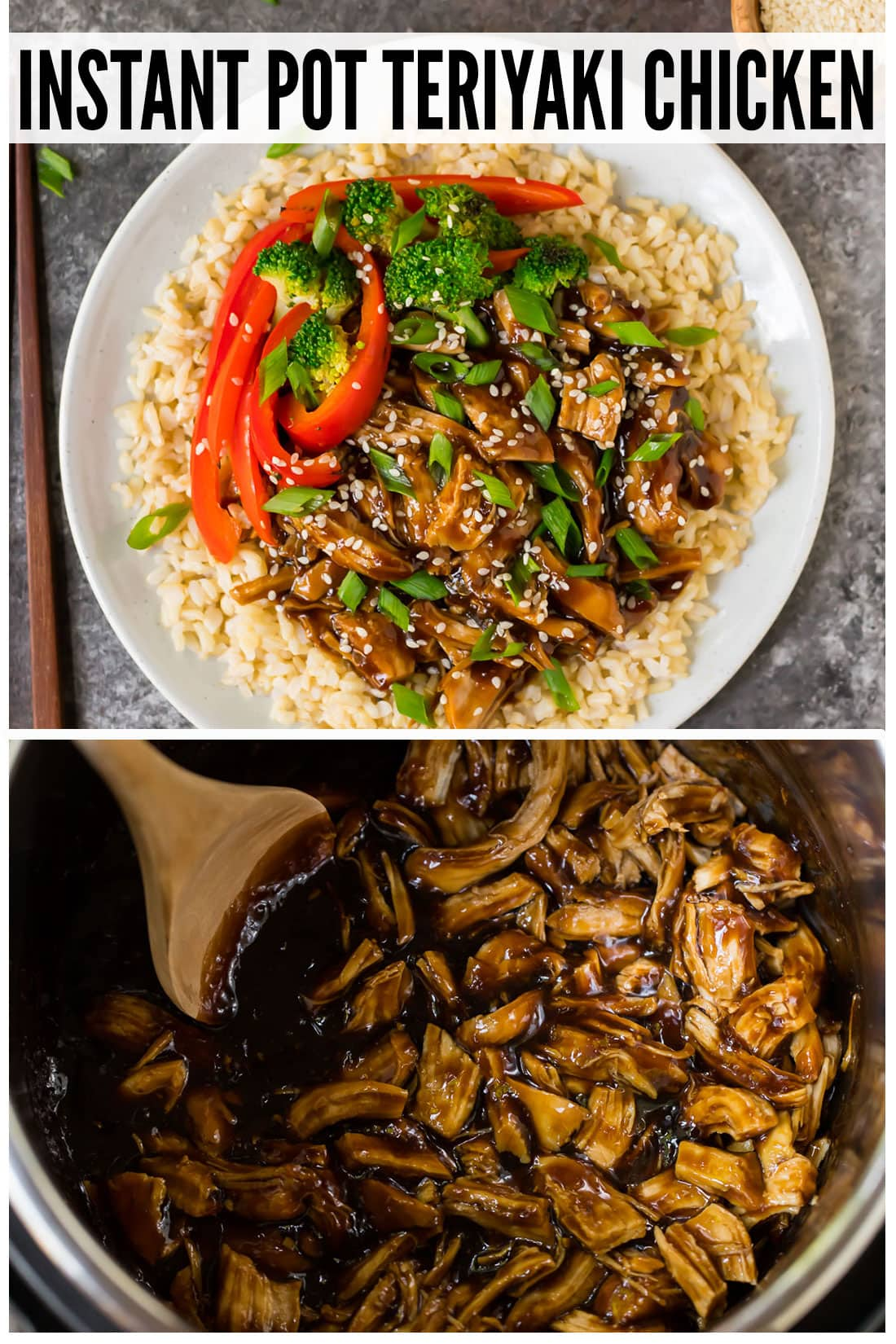 Healthy Instant Pot Teriyaki Chicken from scratch! Use fresh or frozen chicken thighs or breasts and serve with rice or cauliflower rice for a low carb version. This easy pressure cooker recipe tastes like your favorite stir fry but is so much better for you. #wellplated #instantpot #pressurecooker #healthy