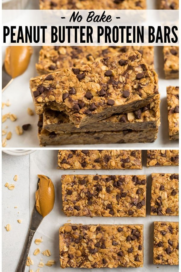 Soft and chewy homemade Peanut Butter Protein Bars with simple ingredients like oatmeal, honey, chocolate chips, and protein powder. No bake, healthy, and way better tasting than store bought! One of our favorite clean eating snacks. #wellplated #proteinbars #peanutbutter #healthy #snacks