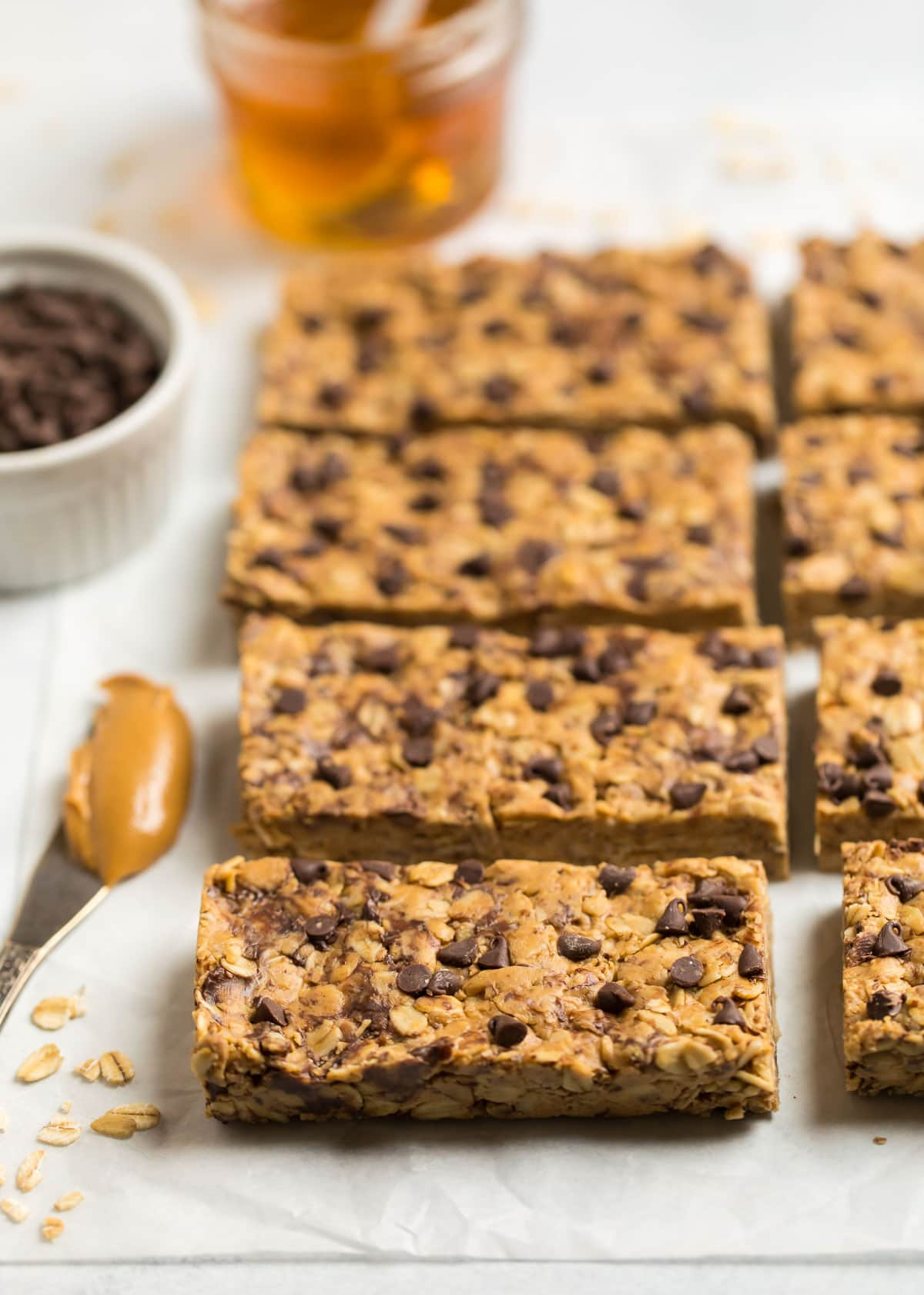 Chewy Peanut Butter Protein Bars. A protein-packed snack that's gluten free.
