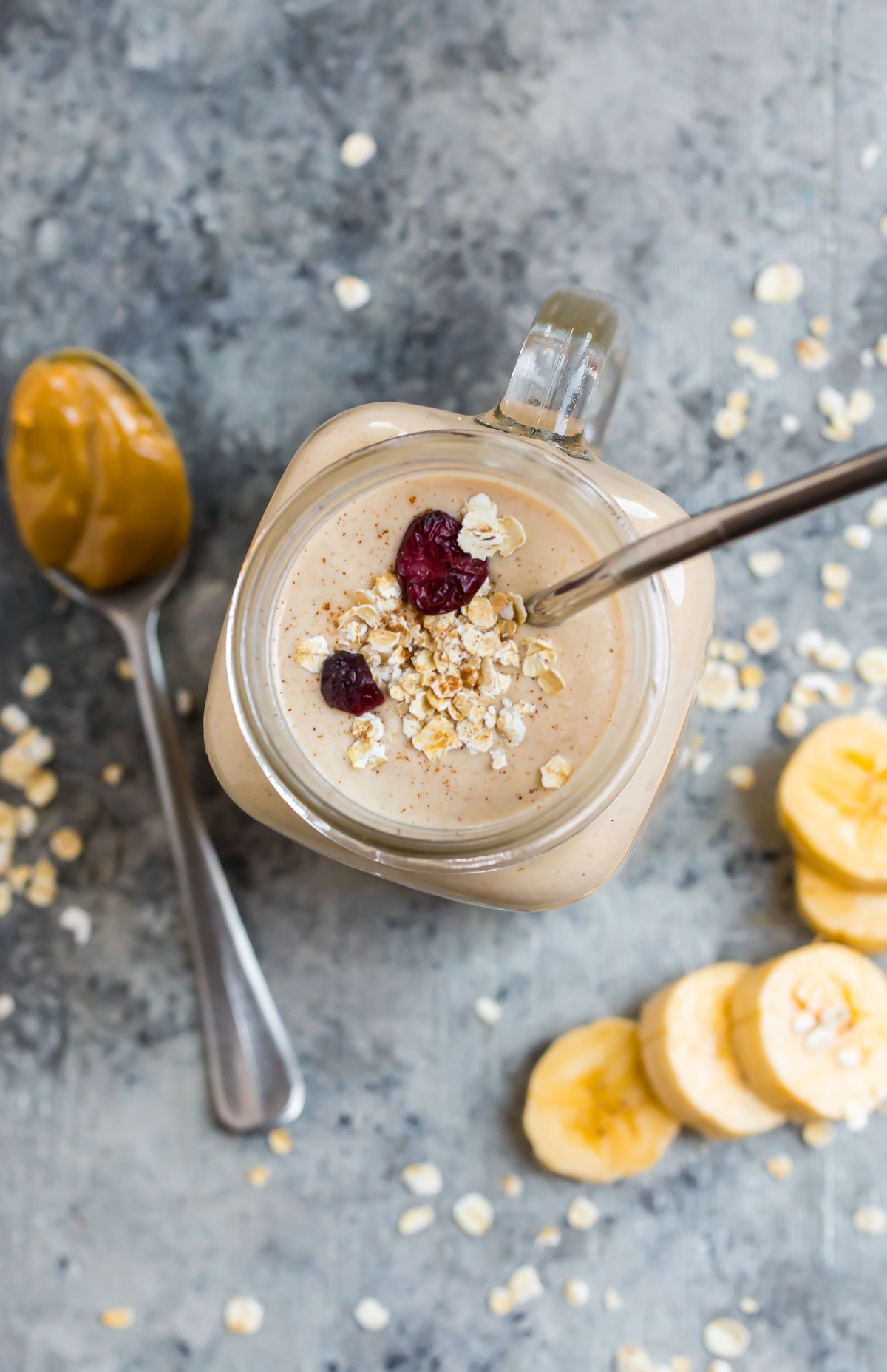 A glass filled with a filling, healthy breakfast drink