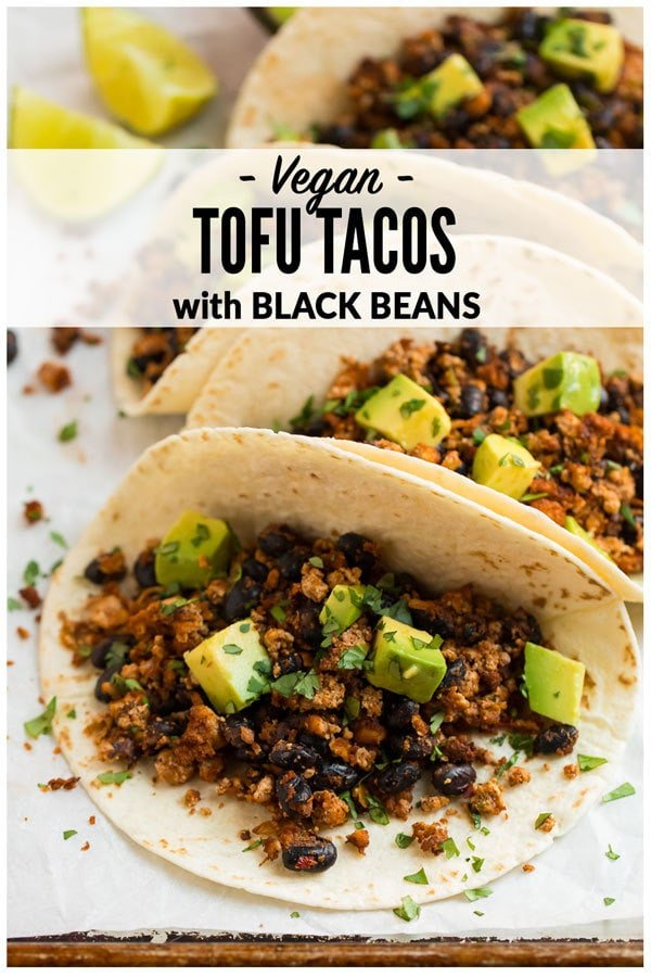 Quick and easy Tofu Tacos with black beans. Crispy, lightly spicy, and delicious! A high protein vegetarian meal that's ready in less than 30 minutes. #wellplated #vegan #tofu