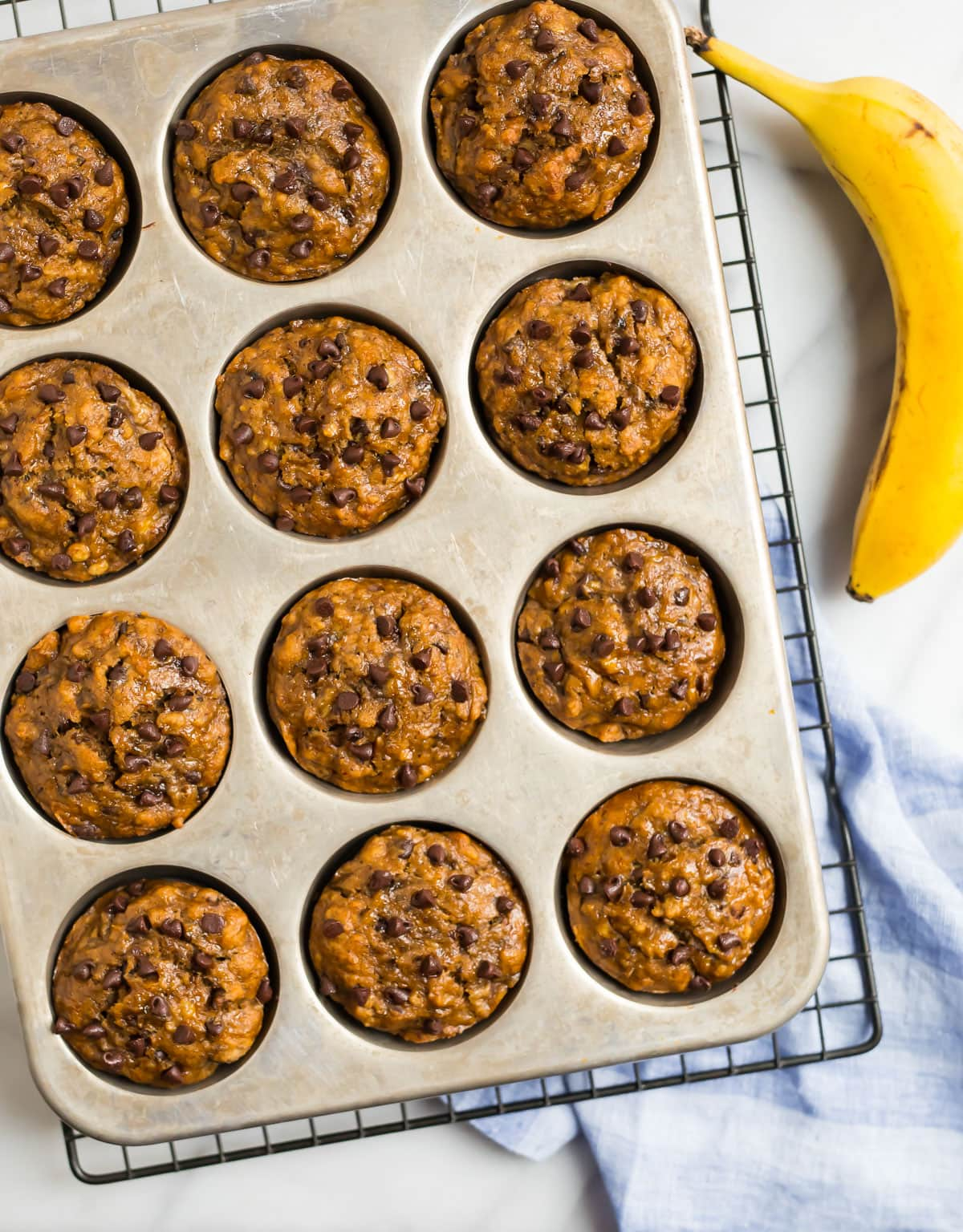 Healthy Banana Chocolate Chip Muffins. Make ahead for breakfasts and snacks!