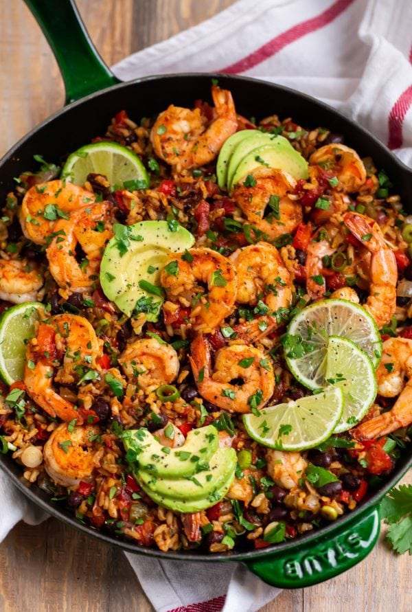 Mexican shrimp and rice in a large skillet
