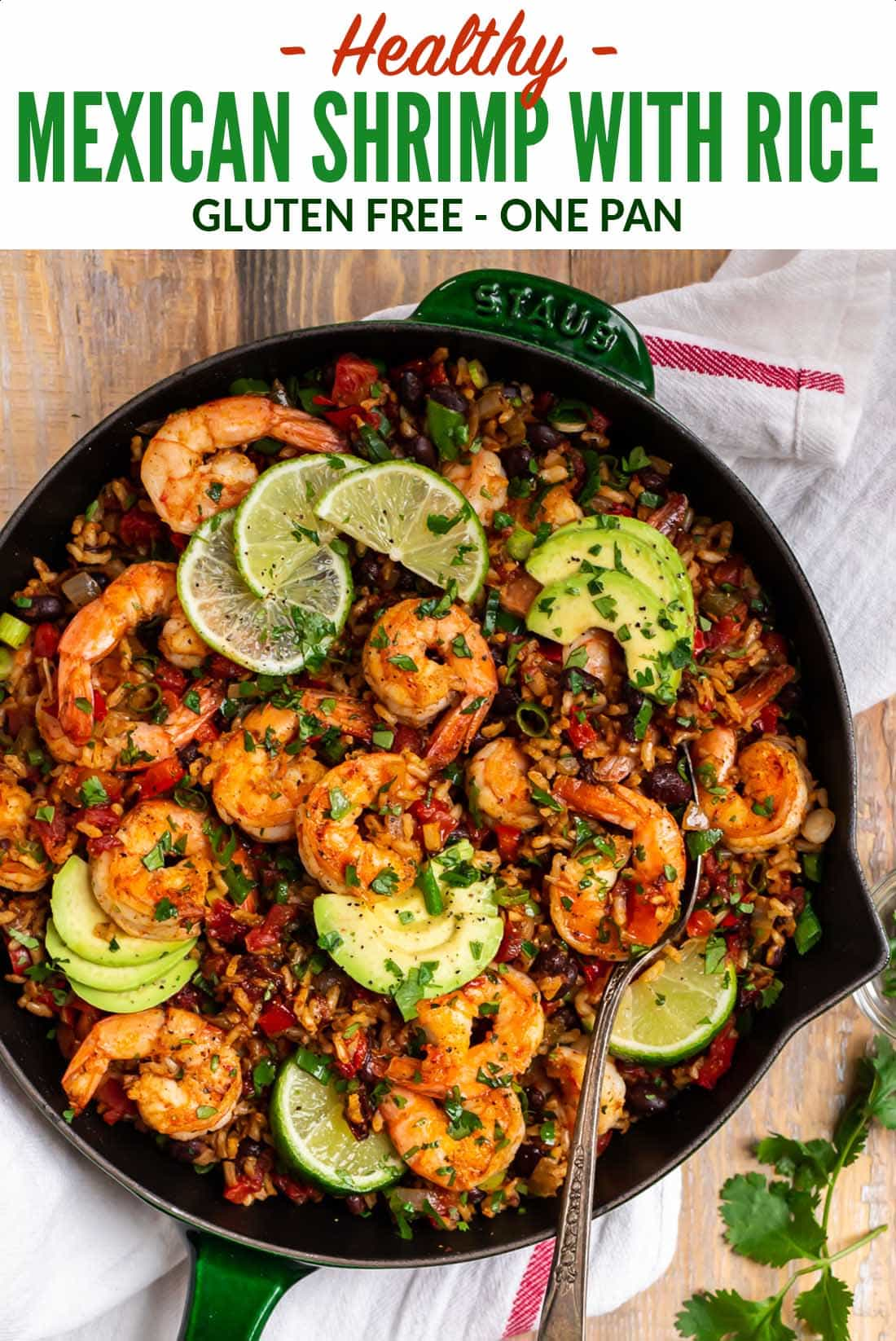 Healthy Mexican Shrimp and Rice. Easy one skillet dinner that's full of spicy Mexican flavor! Juicy shrimp, colorful veggies, whole grain brown rice, and black beans make this a true all-in-one meal. #wellplated #glutenfree #shrimp #mexican