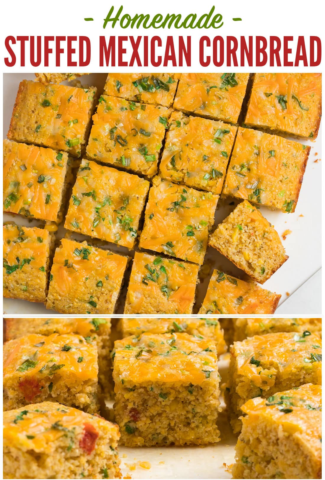 Easy Mexican Cornbread from scratch! So much better than a Jiffy mix. This cheesy stuffed Mexican cornbread recipe is moist, tender, and packed with cheese, jalapeno, and Mexican corn. #wellplated #mexicancornbread #easy