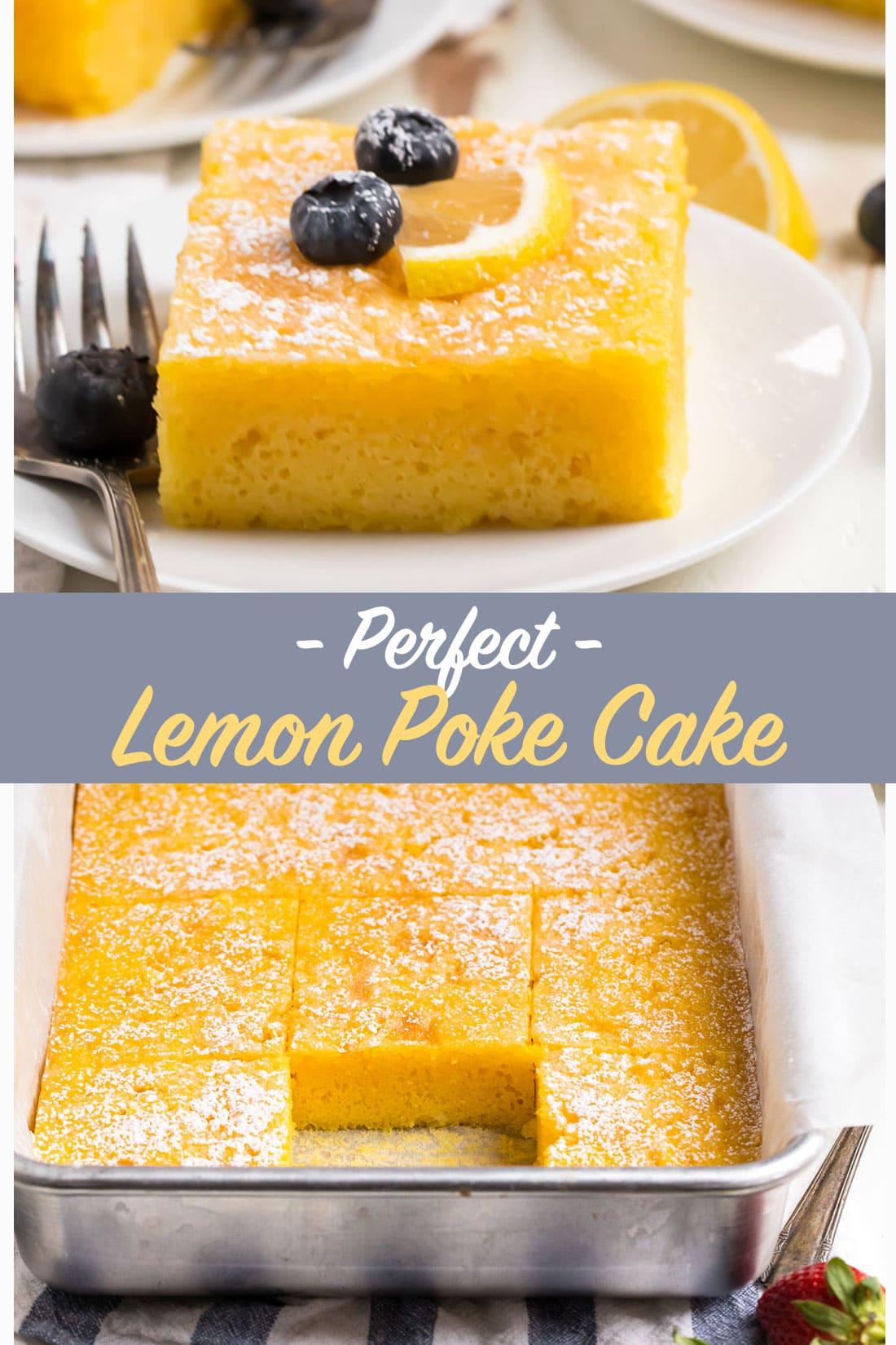 PERFECT Lemon Poke Cake. Original recipe!! Moist, easy, and bursting with lemon flavor, this old fashioned lemon jello cake uses Betty Crocker cake mix, real lemon juice, and lemon jello for triple the lemon burst flavor! #wellplated #pokecake #easydessert
