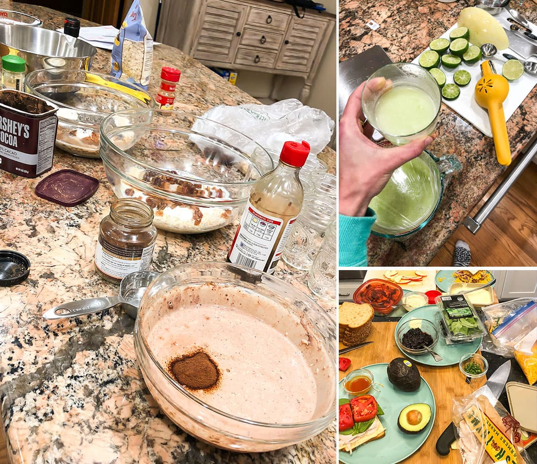Three photos of different recipes being tested for a cookbook