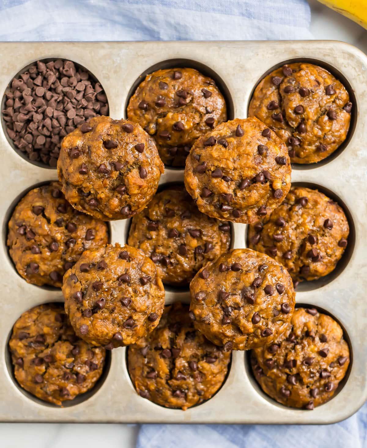 Banana Chocolate Chip Muffins. Easy, vegan, and healthy!