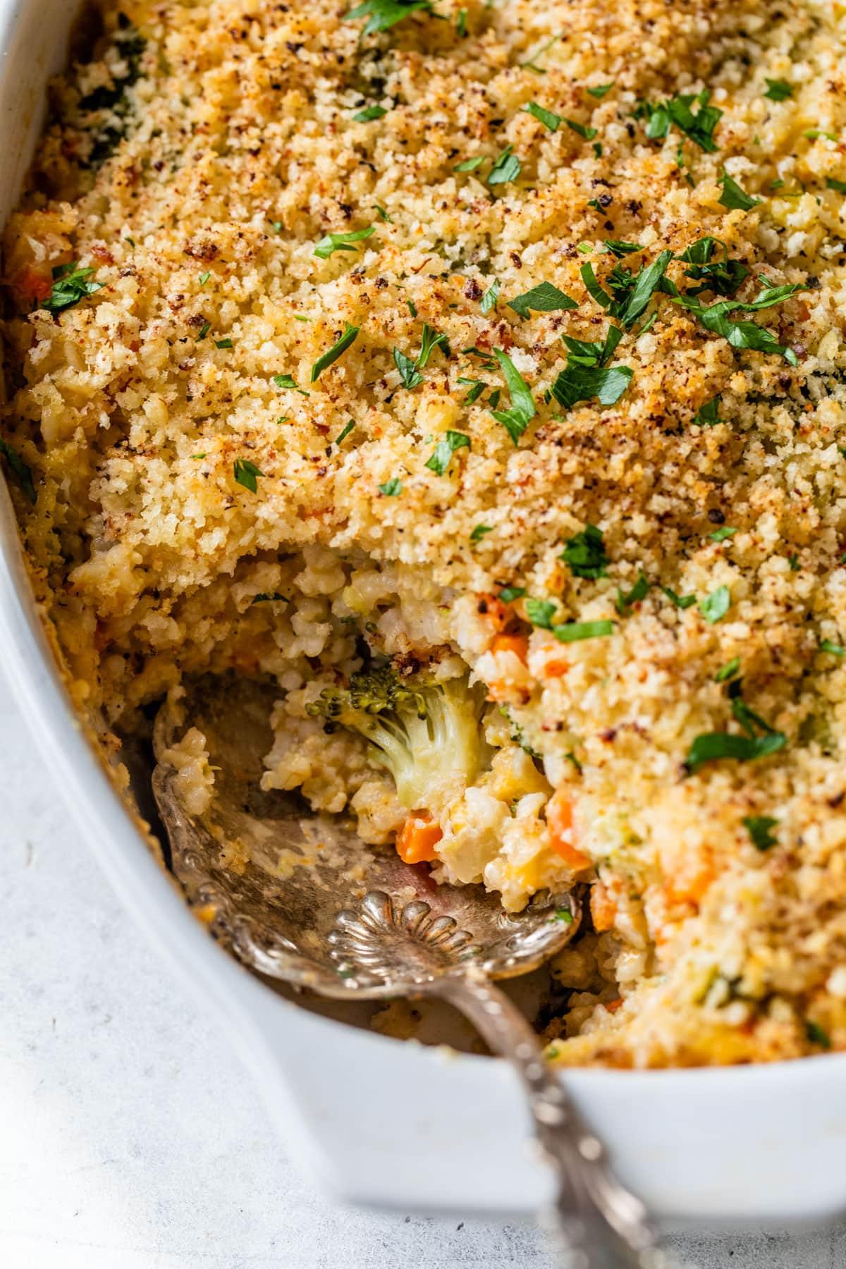 Cheesy casserole in a baking dish
