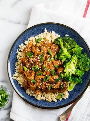Slow Cooker Honey Garlic Chicken with Broccoli and Rice on a Plate