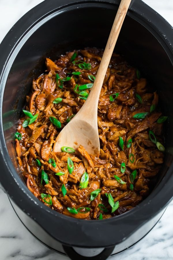 Slow Cooker Honey Garlic Chicken in a crockpot