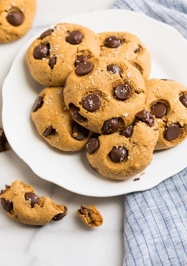 A plate of gluten free Almond Flour Chocolate Chip Cookies