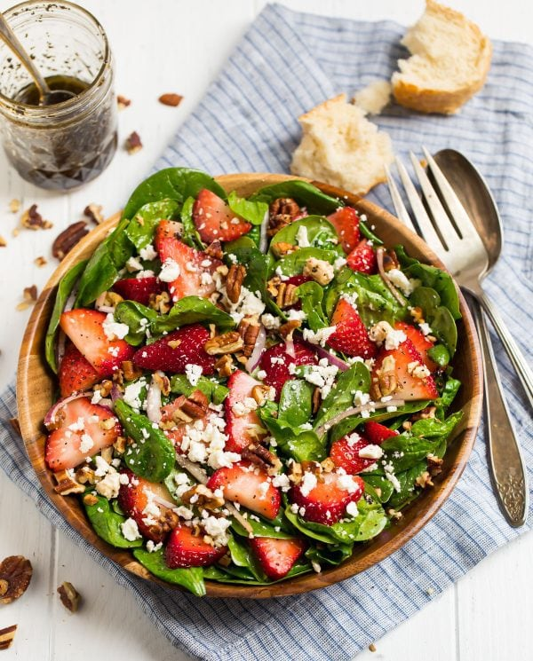 A bowl of Strawberry Spinach Salad